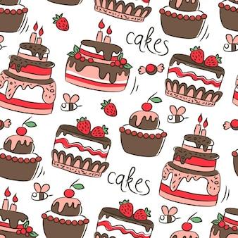 Patrón con tartas de cumpleaños