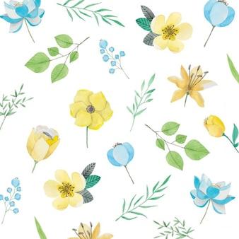 Patrón de acuarela con flores amarillas y azules