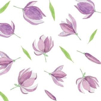 Patrón de acuarela con flores púrpuras