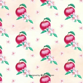 Patrón de acuarela de manzanas rojas y flores