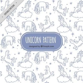 Patrón de adorables bocetos de unicornios