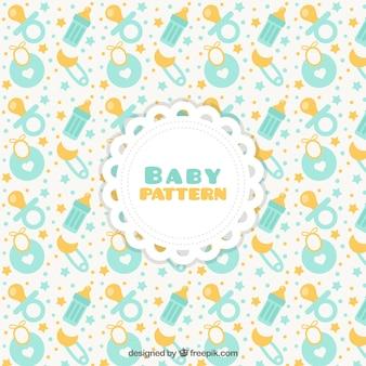 Patrón de bebé con chupetes y baberos