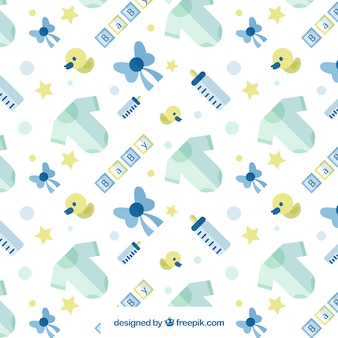 Patrón de bebé con elementos azules y amarillos en diseño plano