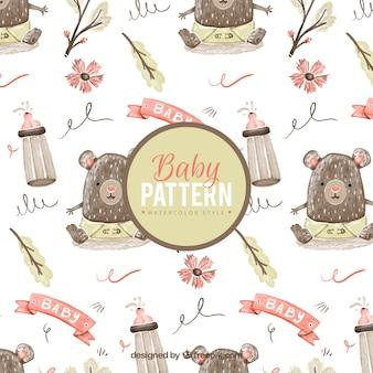 Patrón de bebé con oso pequeño en estilo de acuarela