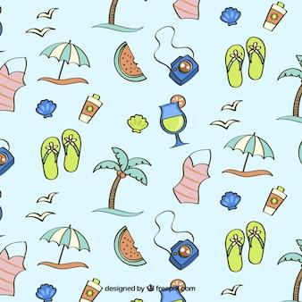 Patrón de bocetos de accesorios de verano