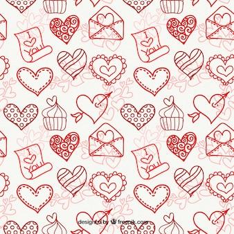 Patrón de bocetos de corazones con magdalena y sobre
