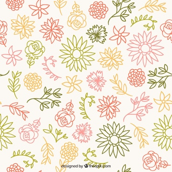 Patrón de bocetos florales de colores