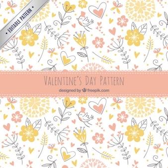 Patrón de bocetos florales de valentín
