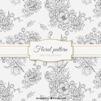 Patrón de bocetos florales