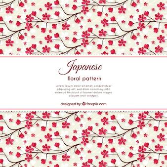Patrón de bonitas flores de cerezo dibujadas a mano
