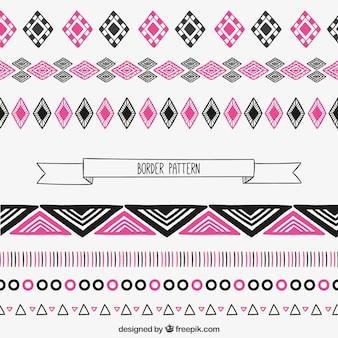 Patrón de bordes en rosa y negro