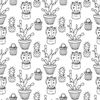Patrón de cactus dibujados a mano