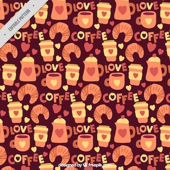Patrón de café dibujado a mano con croissants