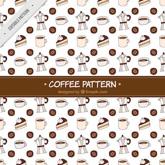 Patrón de cafetera y dulces dibujados a mano