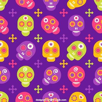 Patrón de calaveras de azúcar en estilo colorido