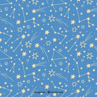 Patrón de constelación dibujada a mano