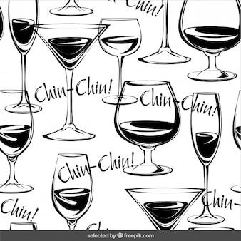 Patrón de copas de vino dibujadas a mano