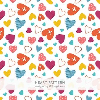 Patrón de corazones de colores