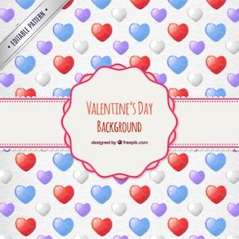 Patrón de corazones en acuarela de San Valentín