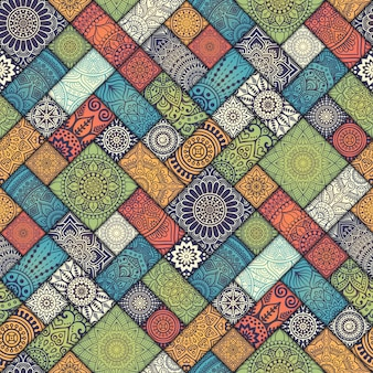 Patrón de cuadrados florales diagonales