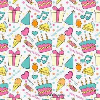 Patrón de cumpleaños colorido dibujado a mano