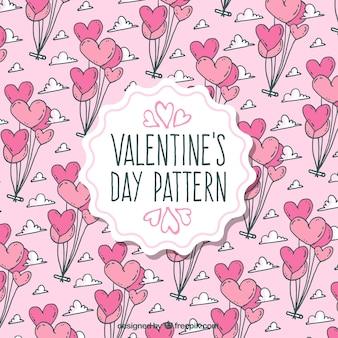 Patrón de día de san valentín con globos en tonos rosas