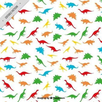 Patrón de dinosaurios de distintos colores