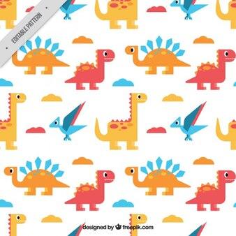 Patrón de dinosaurios planos con nubes