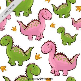 Patrón de dinosaurios simpáticos