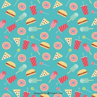 Patrón de dulces planos y comida rápida