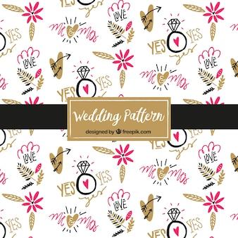 Patrón de elementos de la boda dibujado a mano