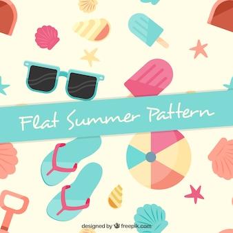 Patrón de elementos de verano de colores pastel en diseño plano
