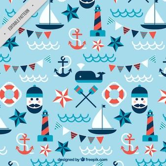 Patrón de elementos marineros en diseño plano