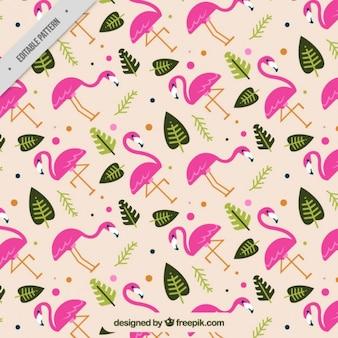 Patrón de flamencos y hojas en diseño plano
