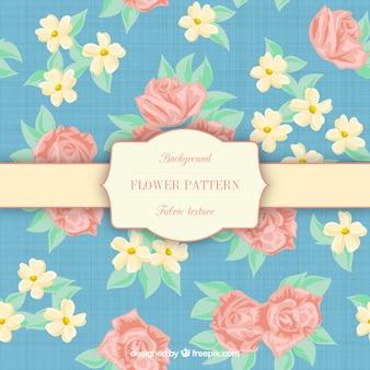 Patrón de flor en textura de tela