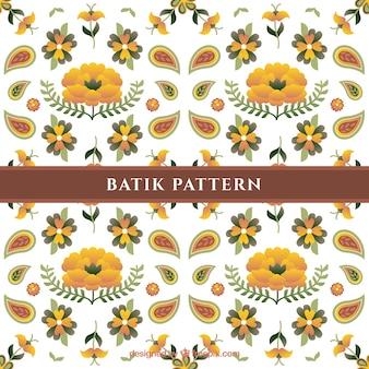 Patrón de flores batik con flores