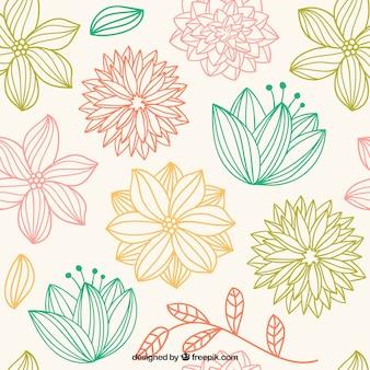 Patrón de flores bonitas dibujadas a mano