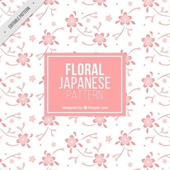 Patrón de flores de cerezo rosas dibujadas a mano