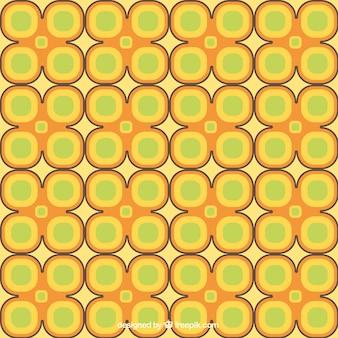 Patrón de flores retro en amarillo y verde