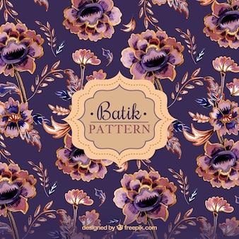 Patrón de flores vintage en estilo batik