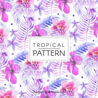 Patrón de flores y hojas tropicales de acuarela
