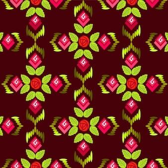 Patrón de flores y hojas