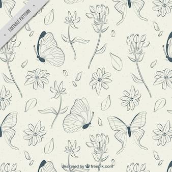 Patrón de flores y mariposas dibujadas a mano