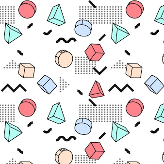 Patrón de formas abstractas memphis