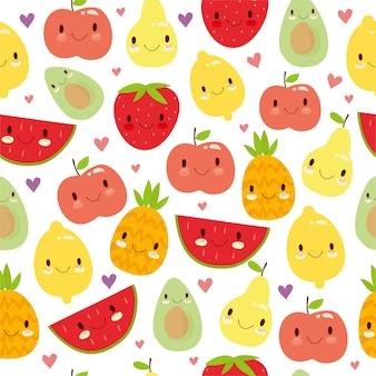 Patrón de frutas a color