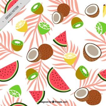 Patrón de frutas exóticas con hojas de palmera