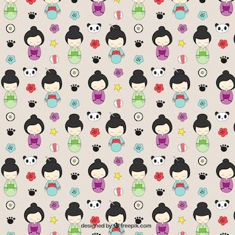 Patrón de geishas dibujadas a mano