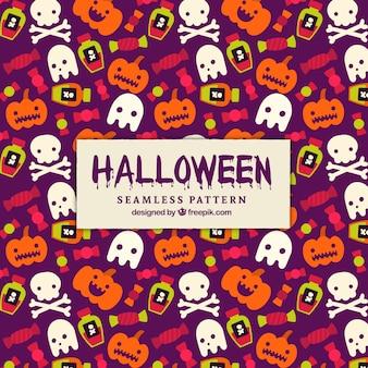 Patrón de halloween con fantasmas y calabazas