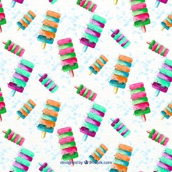Patrón de helados de acuarela de colores