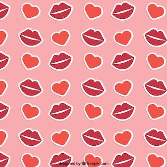 Patrón de labios y corazones